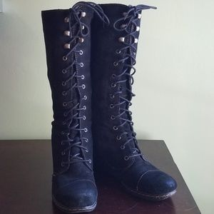 B.O.C. Suede Knee High Wedge Lace and Hook Boots